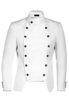 Cyber SupercartCOOFANDY Men Casual Stand Neck Double-breasted Slim Fit Blazer Jacket (White) - intl