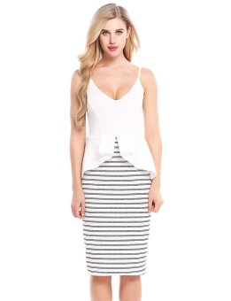 Sunweb Women Sexy V-Neck Striped Patchwork Elastic Ruffle Brim Adjustable Spaghetti Straps Dress ( White ) - intl