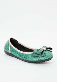 Giày búp bê có nơ LARA HMF 701 Xanh lá nhạt