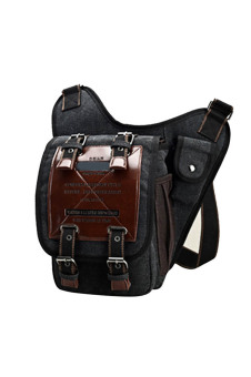 Men Sports Travel Hiking Cycling Outdoor Portable Canvas Crossbody Shoulder Messenger Phone Computer Bag Pack Organizer Pouch Black (Intl)