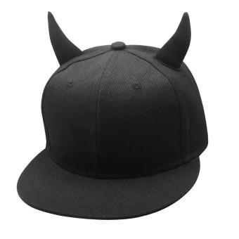 Adjustable Baseball Ox Horn Hat Black (Intl)