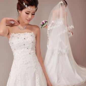 Áo cưới dáng A, suông dịu dáng, cúp ngực thân ren, có điểm đá