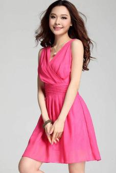 Sunweb Fashion Ladies Women Deep V Neck Sleeveless Casual Cocktail Party Chiffon Dress (Rose Red) - Intl