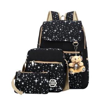 Canvas Shoulder School Bag Backpack Travel Satchel Handbag(Black) - INTL