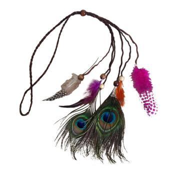 Women Girls Indian Style Hippie Feather Bead Weave Headband Headdress Hair Band Accessory Style B - intl