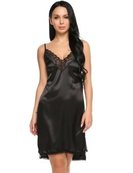 Cyber Womens Sleeveless Pajamas Patchwork V Neck Nightgown Sleepwear Split Lace Hem Backless Dress ( Black ) - intl