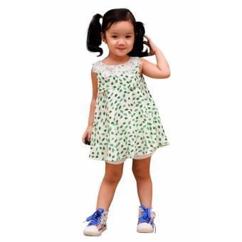 Áo Kiểu Lá Cổ Tròn Vải Ren Genii Kids (Trắng)