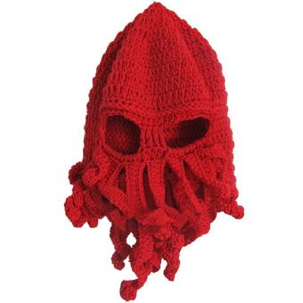 Unisex Kids Child Octopus Style Acrylic Fibers Winter Warm Knitting Face Mask Knitted Beard Squid Hat Cap for 3-8 Years Old Kids Red - intl
