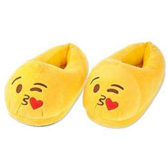 niceEshop Unisex Boys Girls Warm Soft Cozy Plush Emojis Slippers Indoor House Cute Slippers - intl
