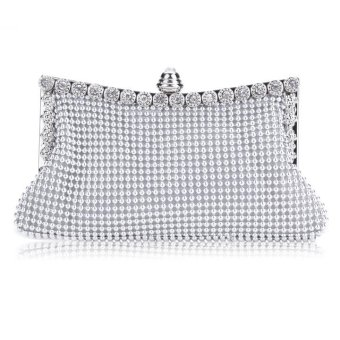 Linemart New Clutch Casual Women's Handbag Lady Party Crystal Evening Bags ( Silver ) - intl