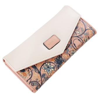Sunweb Women Fashion Synthetic Lea ther Foldable Purse Credit ID Card Holder Trifold Long Wallet ( watermelon red ) - intl