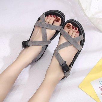 Giày sandal bánh mì dây chéo cài khóa S018 (Xám)