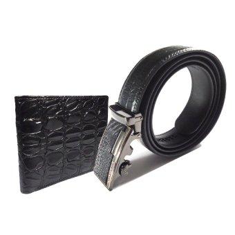 Bộ ví và thắt lưng da bò vân Cá sấu DaH2 DV3181 (Đen)