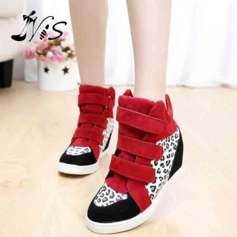 2016 New Fashion Women Hidden Wedge Heels High Top Ankle Boots Sneakers Shoes Red+White - intl