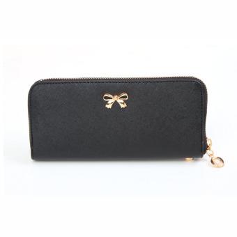 Women Korean Cute Bowknot Purse Solid Wearable Wallet Black - Intl