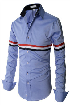 Reverieuomo CS42 Single-Breasted Shirt Blue - Intl