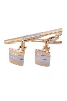 Cyber Cufflink And Tie Clip Set (Gold) - intl