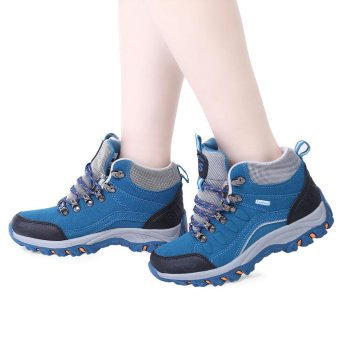 Casual Outdoor Block Color Lace Up Ladies Hiking Sports Shoes(Blue) - intl