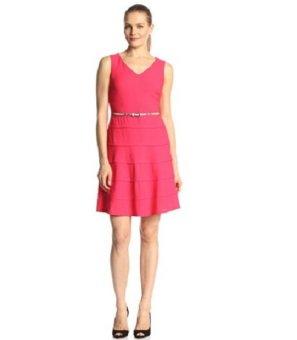 Áo đầm nữ cao cấp Nine West Women's Sleeveless V Neck Belted Multi Tiered Dress (Mỹ