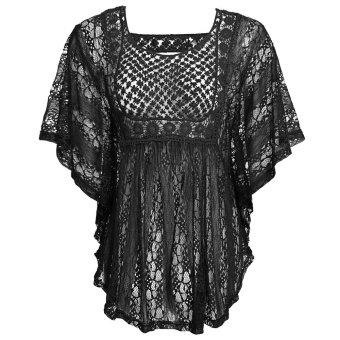 Cyber Meaneor Women Sheer Crochet Lace Loose Poncho Top ( Black ) - Intl