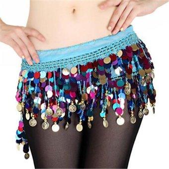 Shiny Belly Dance Coin Belt Hip Scarf Skirt Wrap Costume Sequin Waistband Dancer Blue - intl