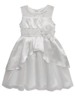 Linemart New Kids Girl O-Neck Sleeveless Flower Party Wedding Tulle Ruffle Dress ( White ) - intl