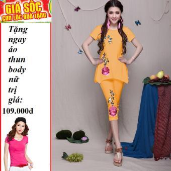 Bộ Mặc Nhà In Hoa Hồng hàn quốc cao cấp (Vàng) + Tặng Áo Thun Body Nữ