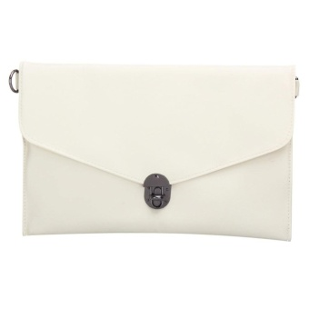Women Messenger Lock PU Leather Clutch Bag (Beige) - intl