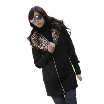 Fancyqube Casual Zip Hoodie Jacket sleeved women Leopard Coat Black - Intl