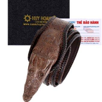 HL4255 - Dây nịt nam da cá sấu Huy Hoàng nguyên con lớn đầu cá sấu màu nâu đất