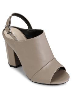 Sandal Bản Boot Gót Lục Giác (Kem)