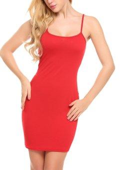 Linemart Women's Spaghetti Strap Solid Clubwear Bodycon Mini Dress ( Red ) - intl