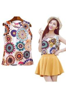 HKS OEM Summer Womens Sexy Ladies Chiffon Sleeveless Tank Crop Vest T Shirt Blouse Tops Sunflower XL - Intl - intl