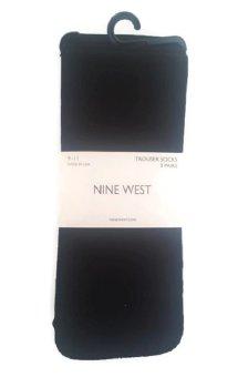Bộ 3 đôi tất (vớ) Đen công sở nữ Nine West Women's Cable Solid And Dot Trouser 3 Pair Sock (Mỹ)