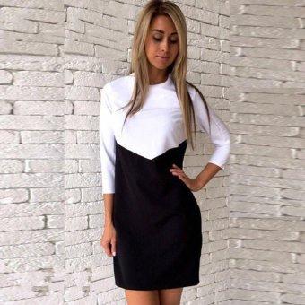 Women Fashion Dress Sexy Casual Patchwork Mini Dress O-Neck Three Quarter Sleeve Bodycon Dress (Black) - intl