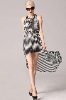 Sunweb Angvns Stylish Lady Women Sexy V-Neck Sleeveless Striped Irregular Hem Casual Chiffon Tunic Long Dress ( Black & white ) - intl