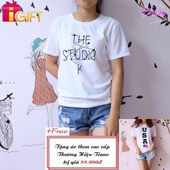 Áo Thun Nữ Tay Ngắn In Hình The Studio K.. Năng Động Tiano Fashion LV156 ( Màu Trắng ) + Tặng Áo Thun Nữ Ngắn Tay In Hình USA Cá Tính Tiano Fashion