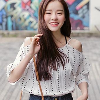 Off Shoulder V-neck Blouse Long Sleeve Self Tie Chiffon Shirt (White) - intl