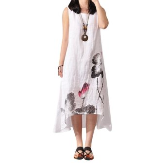 Boho A-line Tank Linen Dress White - intl