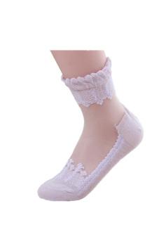 Ultrathin Transparent Beautiful Crystal Lace Elastic Short Socks(Purple) - intl