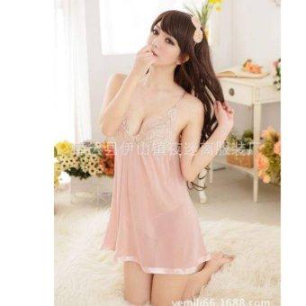 Đầm ngủ sexy phối ren (màu kem) - AN006
