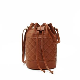 Women Quilted Handbag Bucket Shoulder Messenger Bag Tote Satchel Brown - Intl