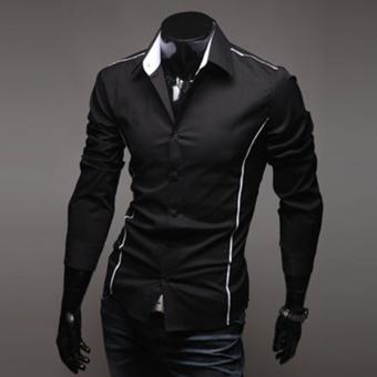 Moonar Fashion Men's Topstitching Style Slim Shirt Pure Color Shirt Long-Sleeve Casual Shirt (Black) - intl