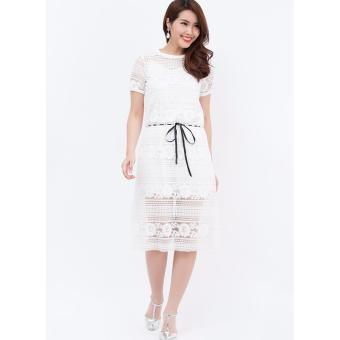 Đầm ren 2 lớp Amun màu trắng rút dây eo SET120-TRANG