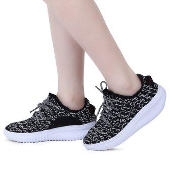 Stylish Round Toe Lace Up Light Ladies Sports Shoes(Black) - intl