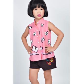 Áo kiểu thêu bướm Somy Kids màu cam