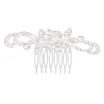 Bridesmaid Bridal Wedding Elegant Flower Rhinestone Crown Tiara Hair Comb - Intl