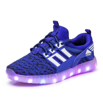 2017 Kids USB Charging LED Light Shoes Soft Leather Casual Boy&Girl Luminous Antiskid Bottom Children Party Sneakers - intl