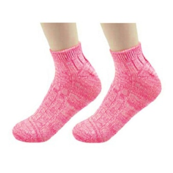 Moonar Vintage Thick Thread Ankle Socks Sweet- Colored Cotton Boat Socks For Women ( Pinkish White) - intl