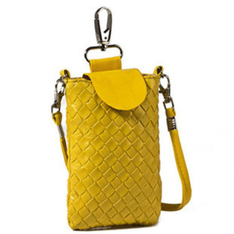Wallet Purse Woven Coin Cell Phone Case Mobile Pouch Shoulder Bag (Yellow)